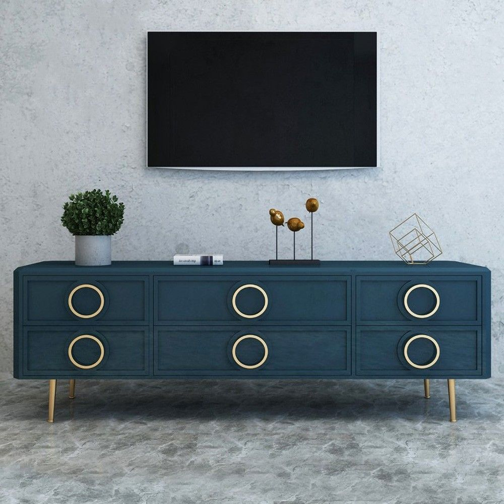 Navy Blue Tv Stand With Storage Drawers For 75 Tvs Gold Accents Mid Century Blue Tv Stand Tv Stand With Storage Blue Living Room Decor