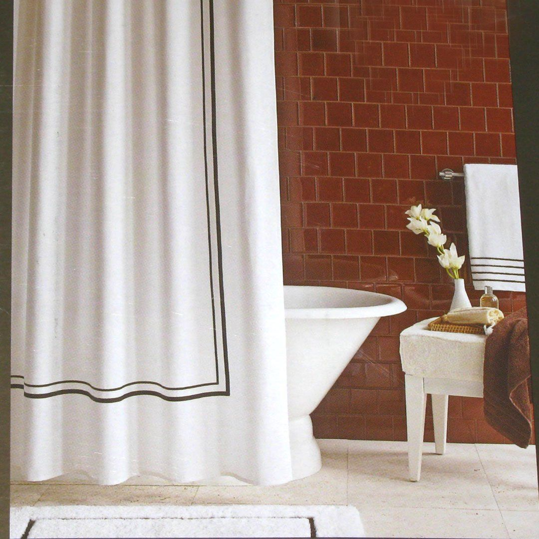 Fieldcrest Luxury Brown Border White Pique Fabric Shower Curtain