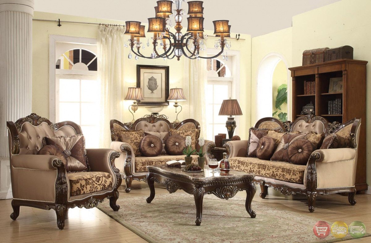 Antique Style Wing Back Sofa & Love Seat French Provincial Living Room Set  ~ shopfactorydirect.com - Antique Style Wing Back Sofa & Love Seat French Provincial Living