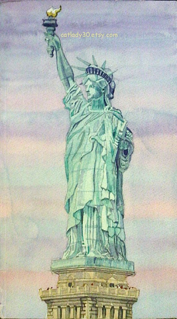 Statue Of Liberty Watercolor Print New York Painting New York Wall Art New York Picture Ny Watercolor Watercolo Statue New York Painting Statue Of Liberty