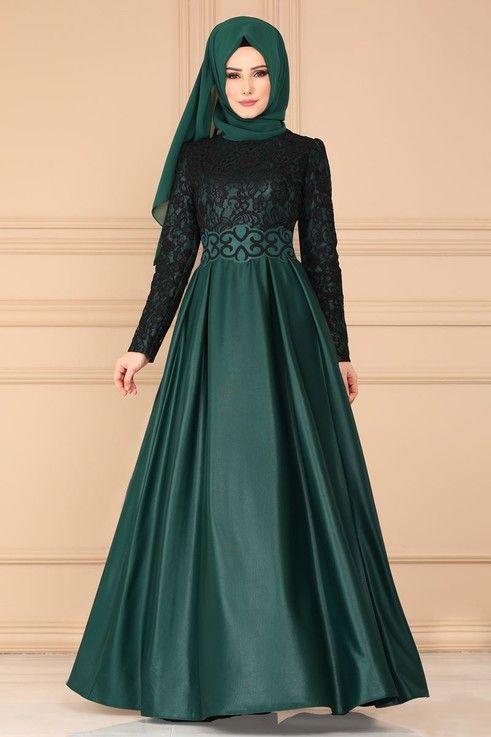 Modaselvim Abiye Flok Kemerli Abiye Asm2133 Zumrut Model Pakaian Muslim Pakaian Wanita Wanita