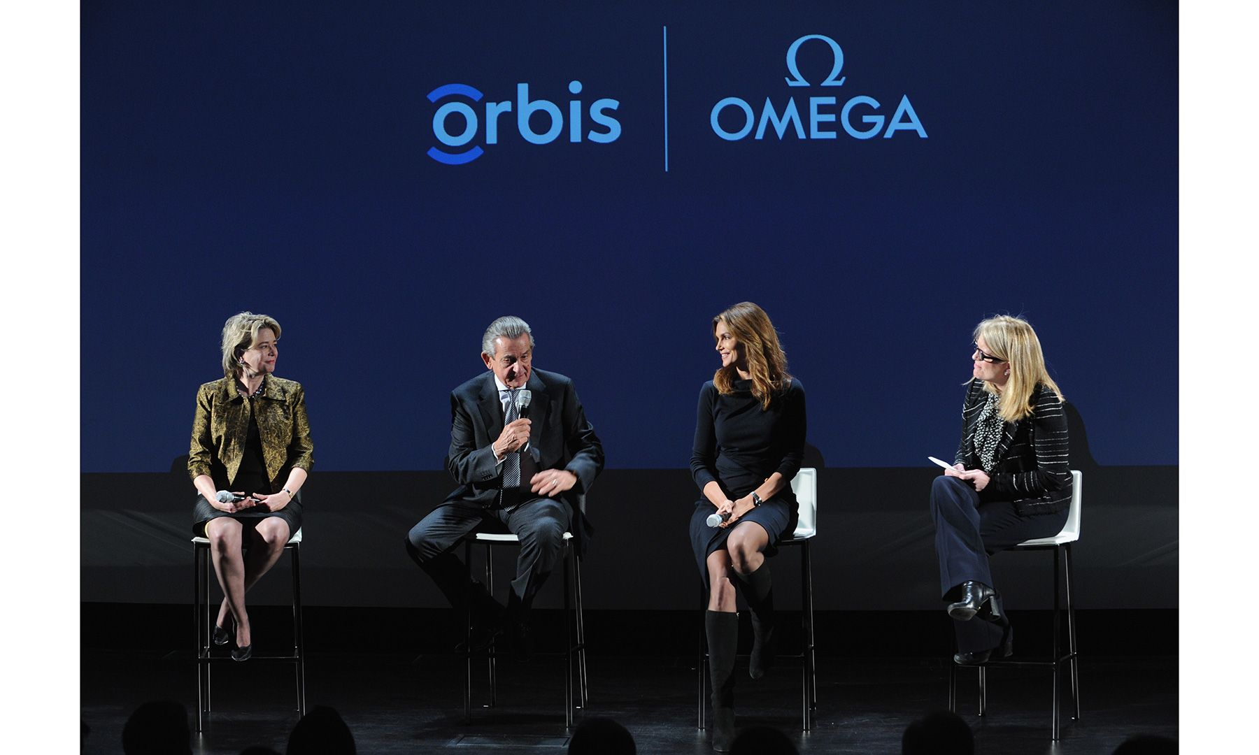 New Yorkers celebrated the premiere of the documentary The Hospital in the Sky—starring Cindy Crawford—in a private screening event hosted by OMEGA, Jenny Hourihan, Stephen Urquhart, Cindy Crawford, Kate Betts