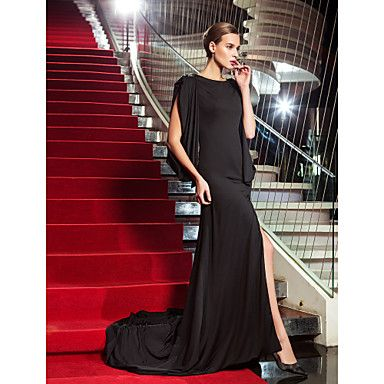 Sheath / Column Scoop Neck Sweep / Brush Train Jersey Formal Evening ...