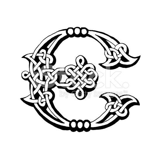 Hand Drawn Celtic Alphabet Letter E Hand Lettering