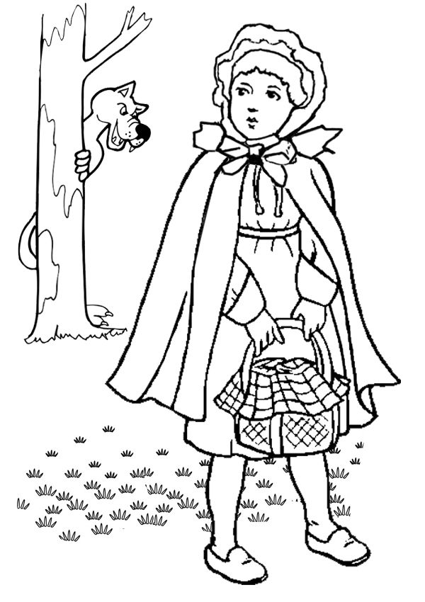 Little Red Riding Hood Coloring Page : little, riding, coloring, Online, Printable, Colouring, Pages, Little, Riding, Hood,, Coloring, Pages,, Angel