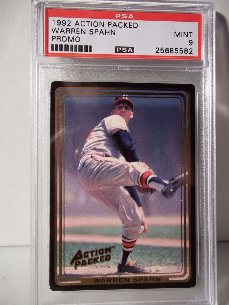 1992 action packed warren spahn psa mint 9 baseball card