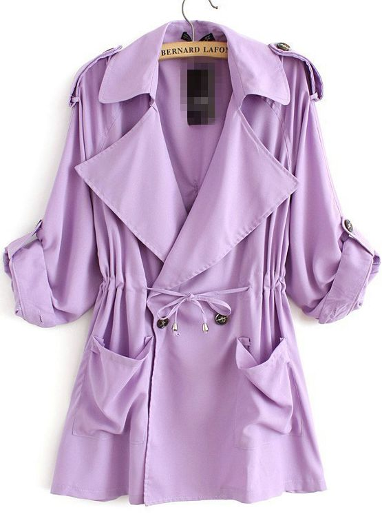 Purple Lapel Long Sleeve Pockets Loose Trench Coat