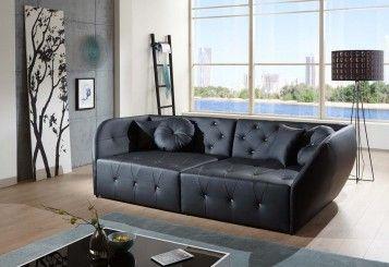 Wohnzimmer Edel ~ Wohnzimmer ottomane sofa diamante schwarz designed by ricardo