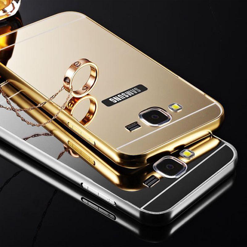 Luxus spiegel case für samsung galaxy s3 s4 s5 s6 metall aluminium rahmen für samsung s6 edge s7 edge hinweis 2 acryl back cover