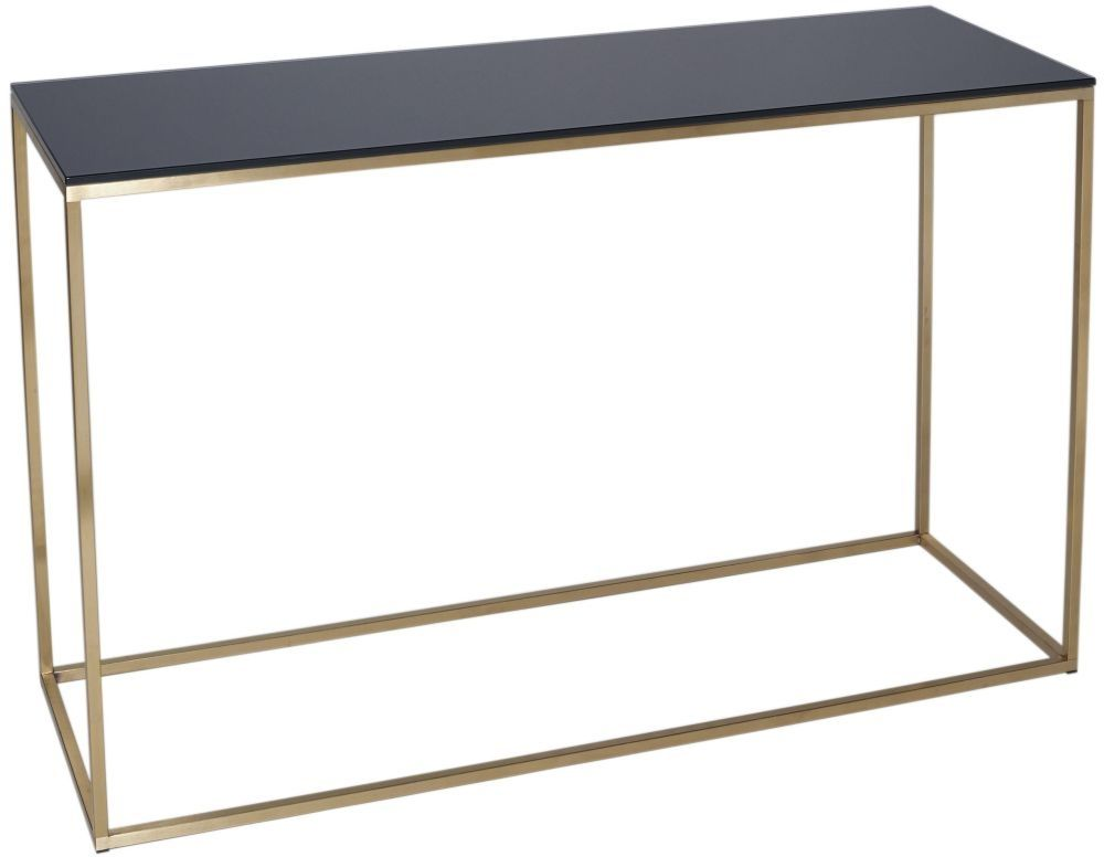 Westminster Black Glass Console Table With Brass Base Contemporary Console Table Brass Console Table Black Console Table