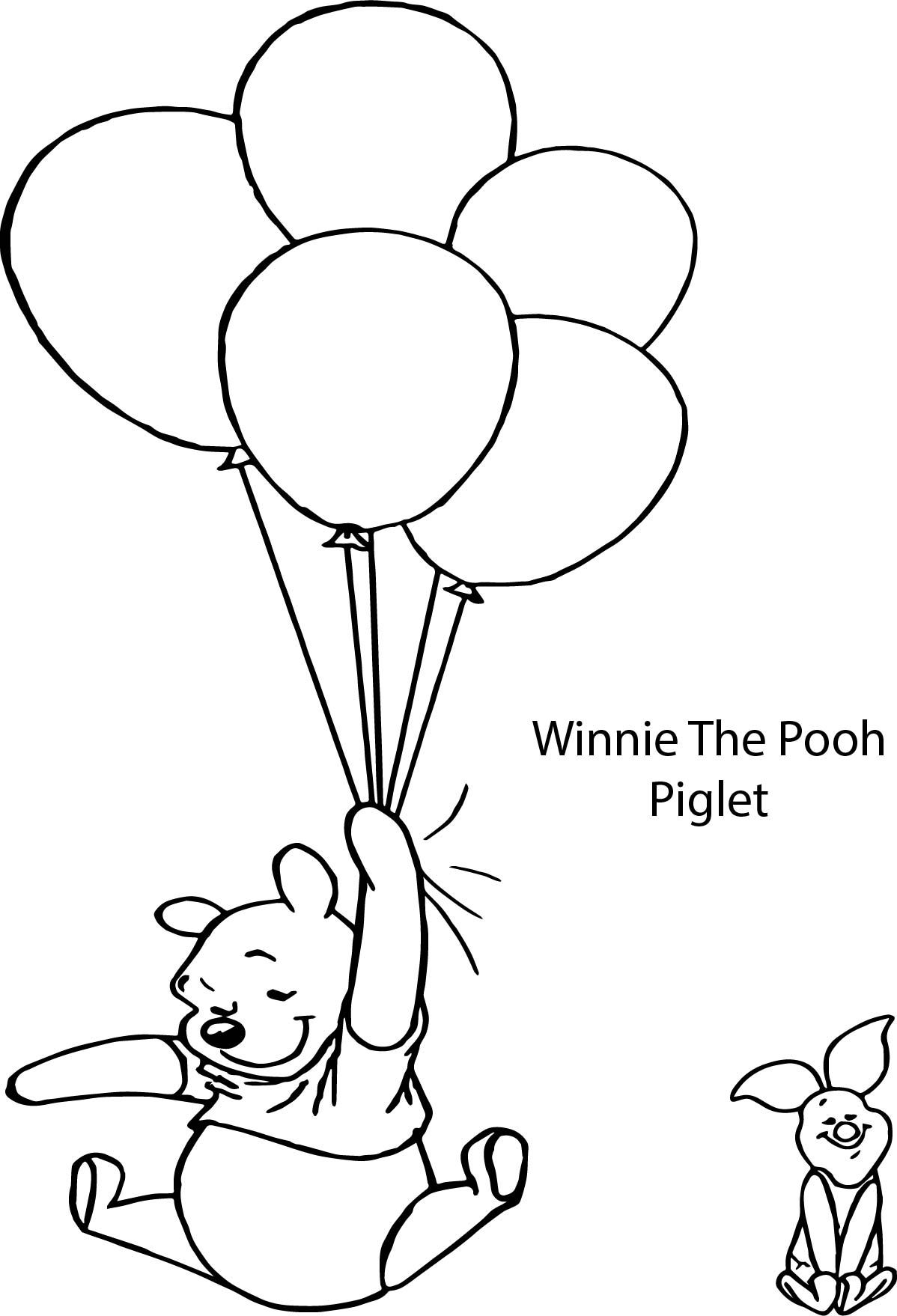Cool Winnie The Pooh And Piglet Balloon Coloring Page Monkey Coloring Pages Monster Coloring Pages Curious George Coloring Pages