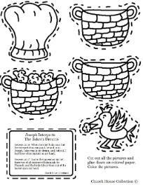 Joseph Interprets the baker's dream cutout sheet for