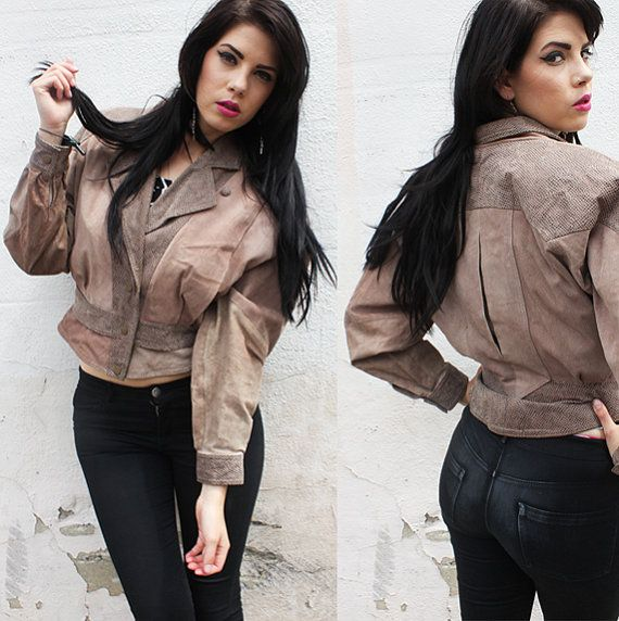 80s Light Brown Snake Leather Cropped Jacket by rumors on ...
