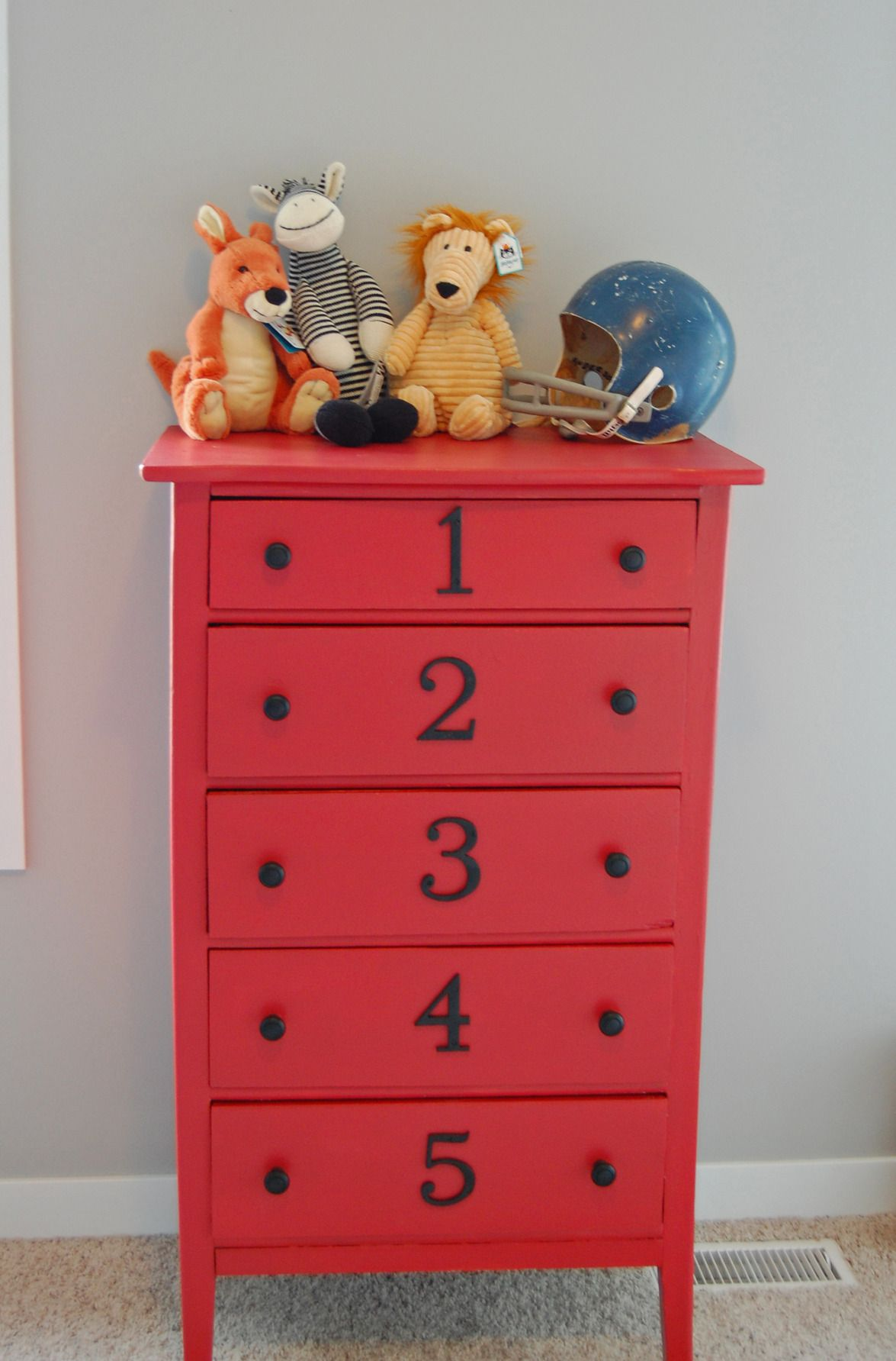 Painted Red Dresser With Numbers   Just Adore This Decor. I Just Might Do  This. It Would Help My Son Put Away His Clothes.