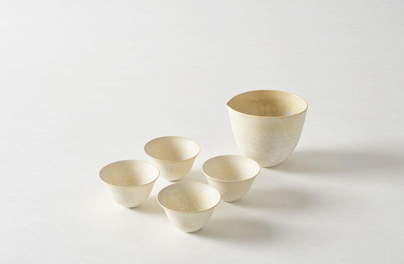 Saiko Fukuoka White Sake Cups and Bowls