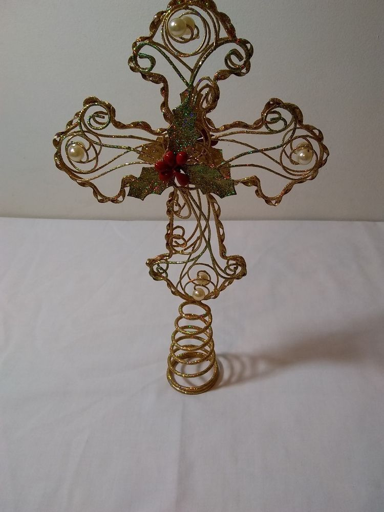 Details about Gold Metal Angel Christmas Tree Topper Jewels Red
