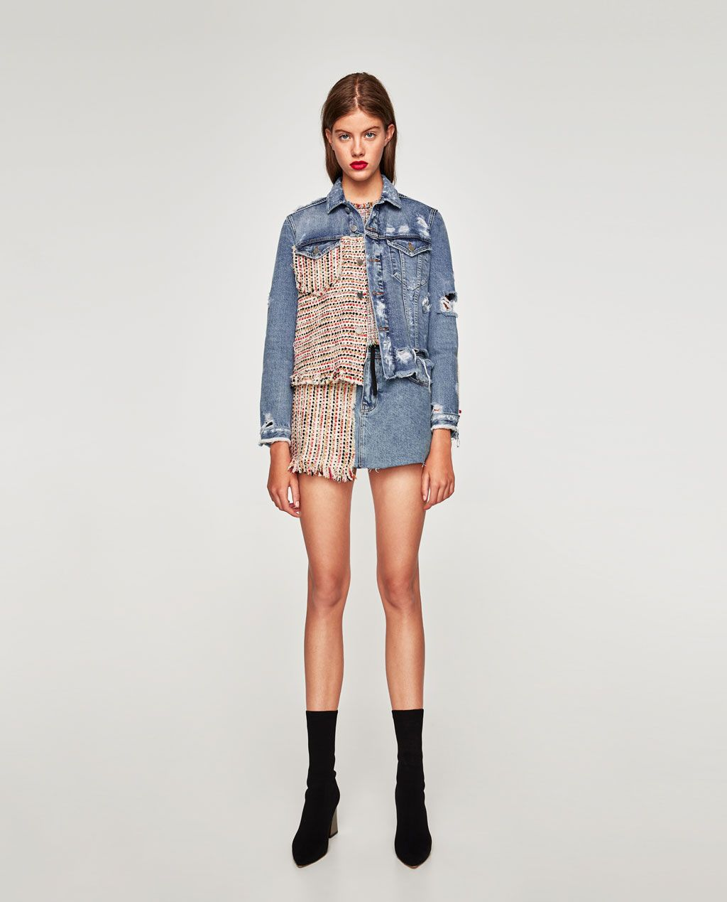 Image 1 of DENIM JACKET WITH TWEED from Zara  5ea7fbee1a0