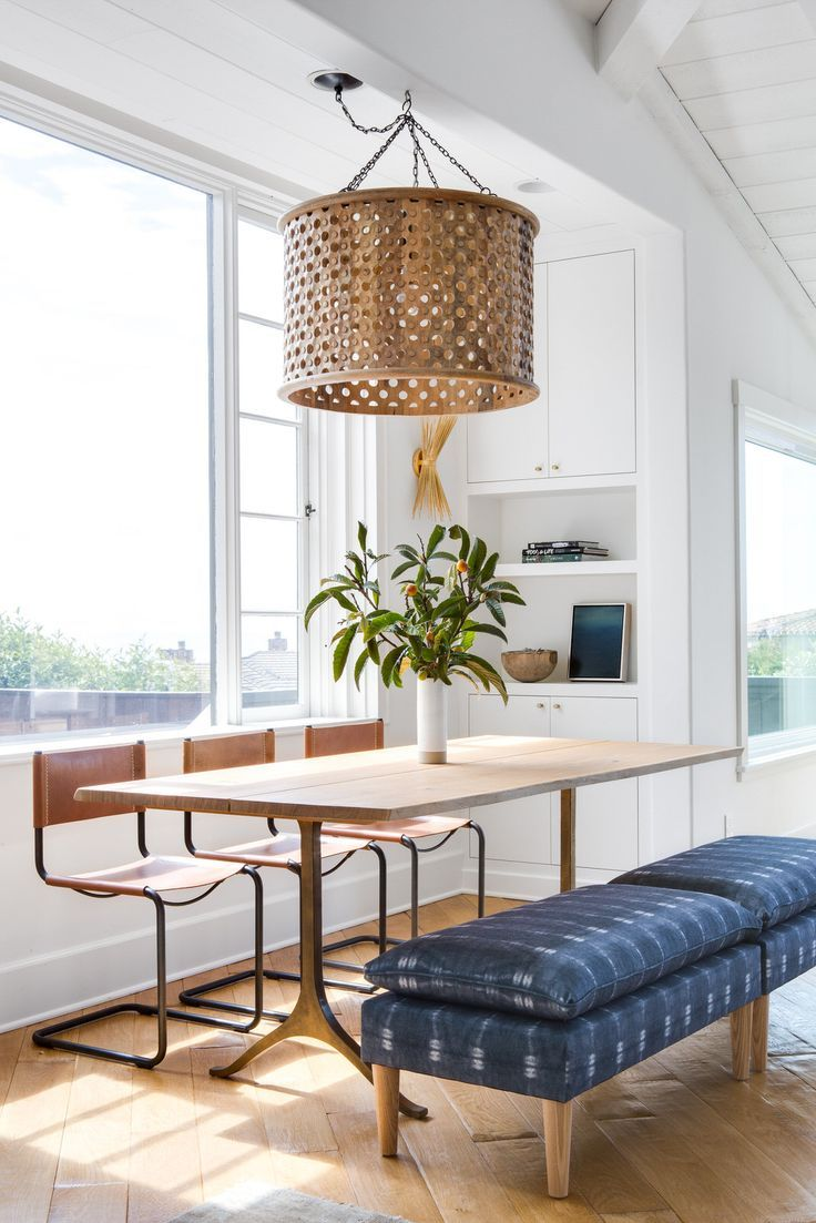 Chad Mellon design - I like the combination of chairs and benches at the dinning table