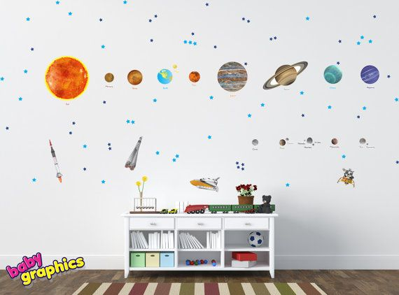 Marvelous Large Solar System Wall Decals Removable Vinyl U0026 Fabric (all The Planets In  The Solar System With Names)   Repositionable (by Babygraphics