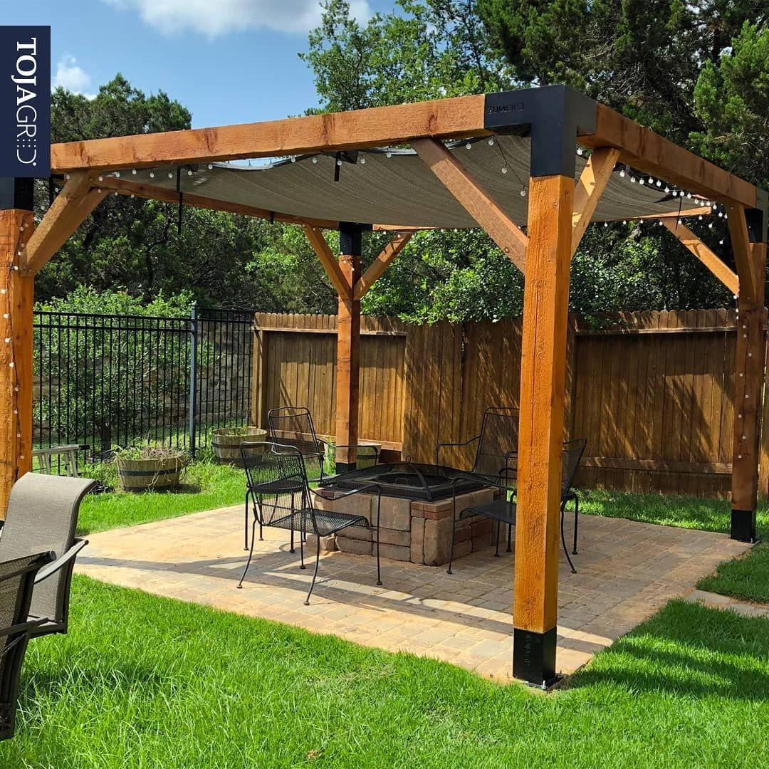Pergola Kit With Shade Sail For 6x6 Wood Posts Toja Grid Toja Grid Outdoor Pergola Pergola Shade Sail