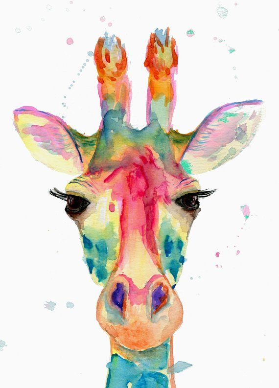 Watercolor giraffe painting for home decor, watercolor Giraffe wall art, Giraffe wall art for nursery, Colorful giraffe painting