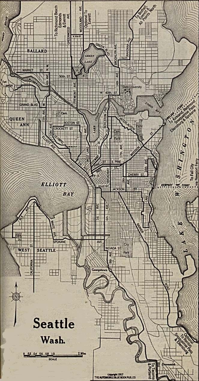 1917 map of Seattle indicates that Ravenna Ave. is the road to take ...