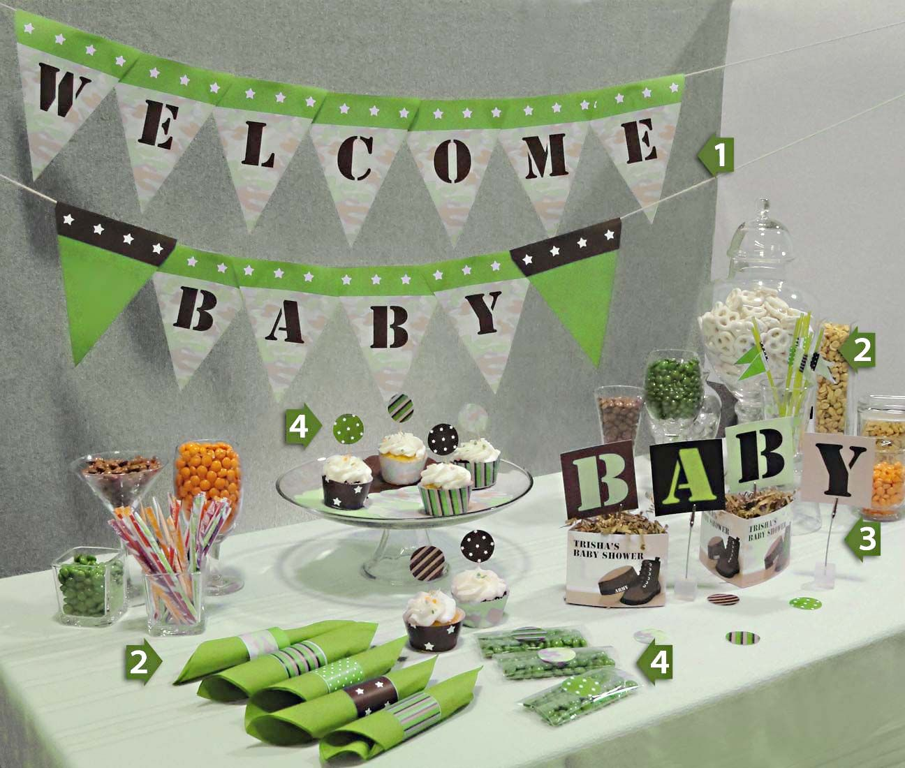 baby decorations | Green Camoflage Baby Shower Decorations from ...