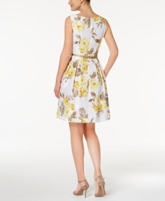 8c2f1068682 Jessica Howard Petite Floral-Print Fit   Flare Dress and Sweater Shrug -  White yellow 14P