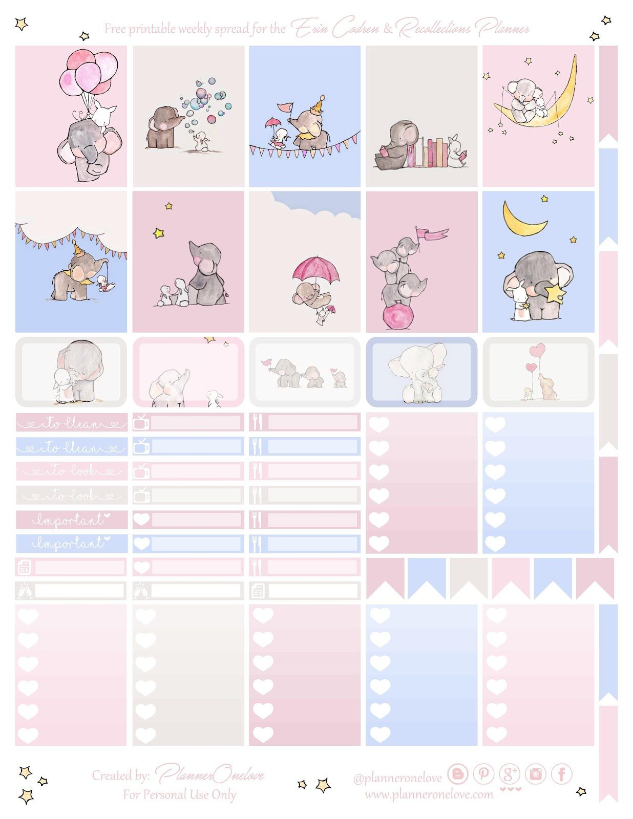 Free Printable Elephant Amp Bunny Planner Stickers From Planner Onelove