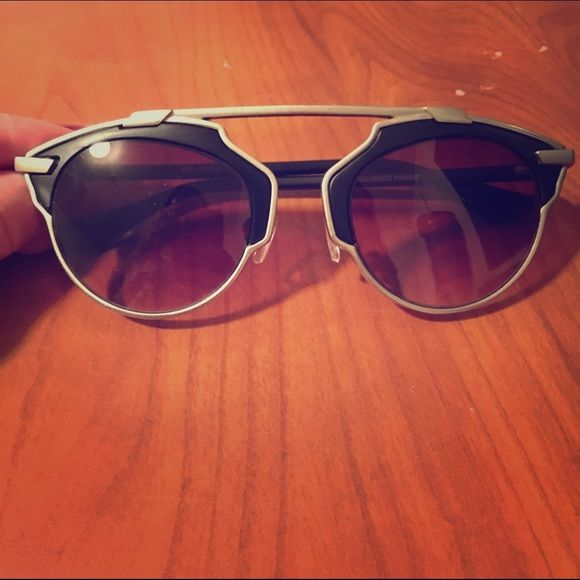 """✨TRENDY✨ """"so real"""" inspired Dior sunglasses Trendy new sunglasses!! Black lense with silver trim. Never worn and still in original box. Includes duster bag and coupon for next purchase. The hottest style of the season  Eyekonic Accessories Sunglasses"""