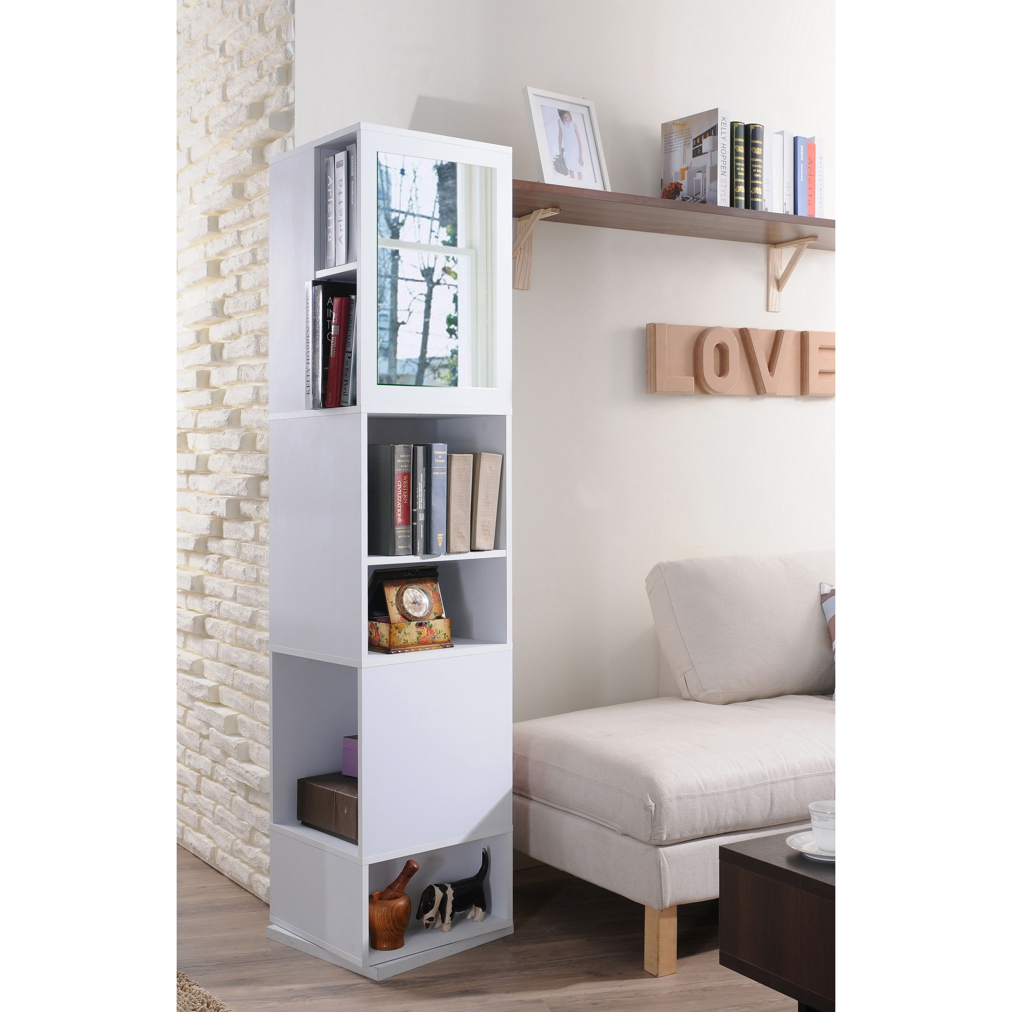 shelves attachment favorite four deep bookcase of the and mirrored has bookcases furniture a swivel storages mirror for showing explore with joshua photos accent