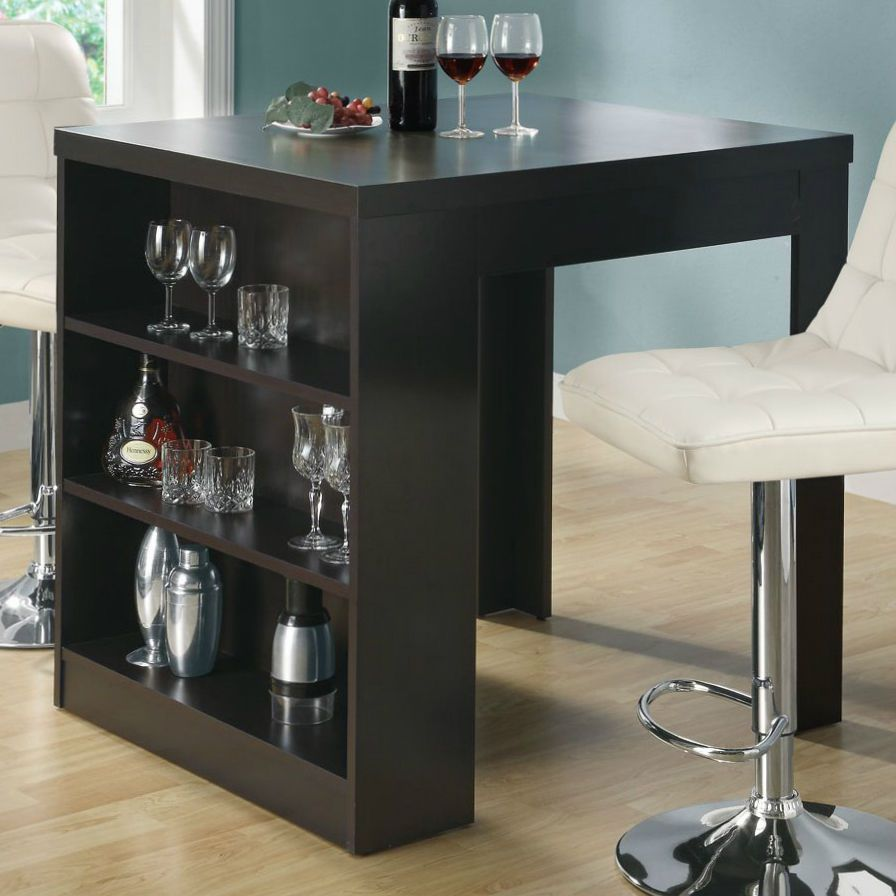 Counter Height Dining Table Pub Bar Tables Modern Brown Rectangle