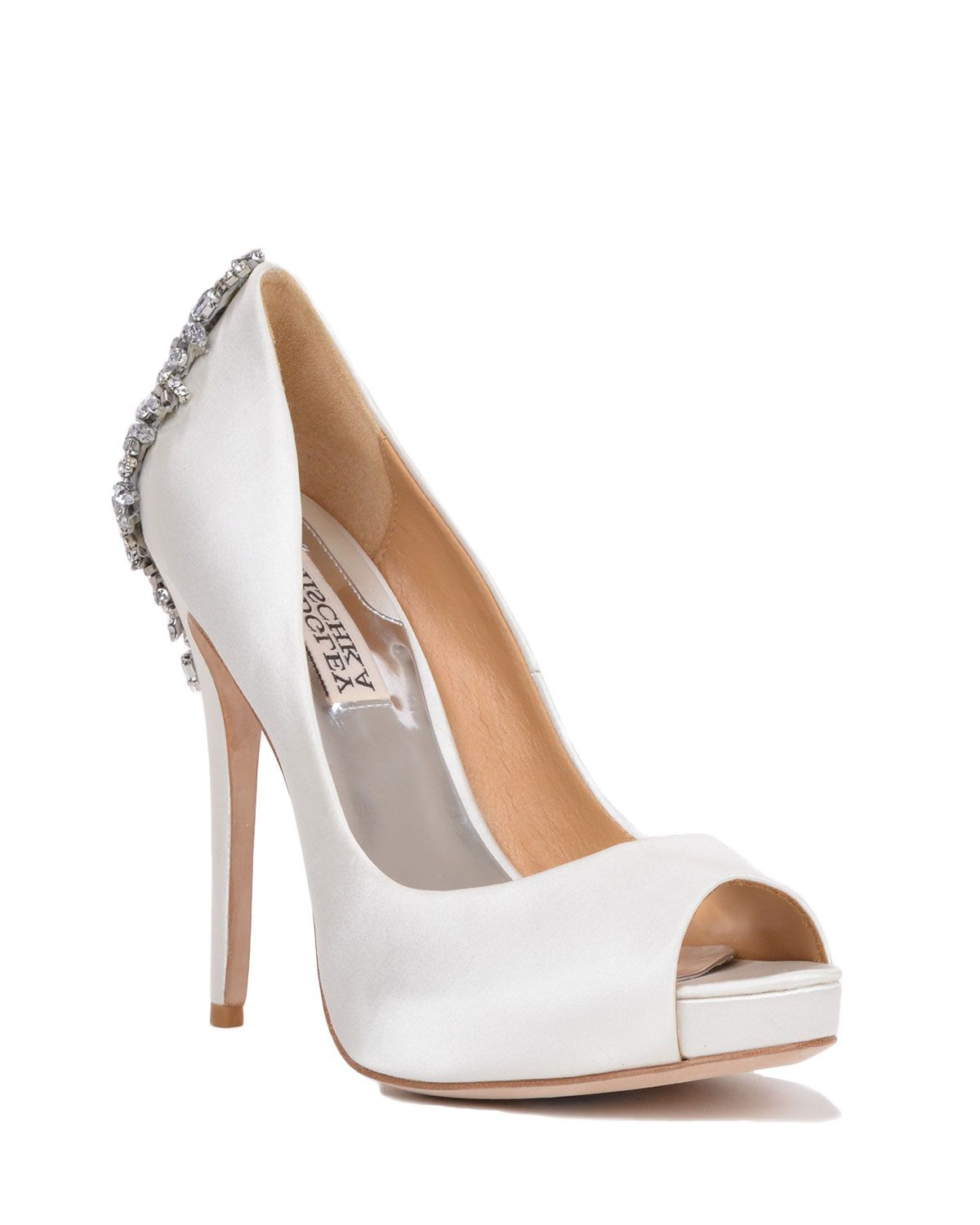 Badgley Mischka Kiara Embellished Peep Toe Evening Pumps