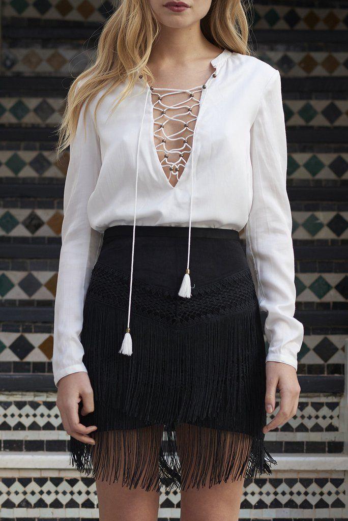 Spartel Fringe Mini Skirt