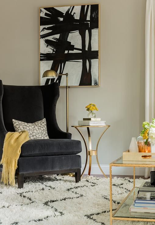 Excellent Mustard Yellow Fringe Throw Blanket On Black Velvet Wingback Gmtry Best Dining Table And Chair Ideas Images Gmtryco