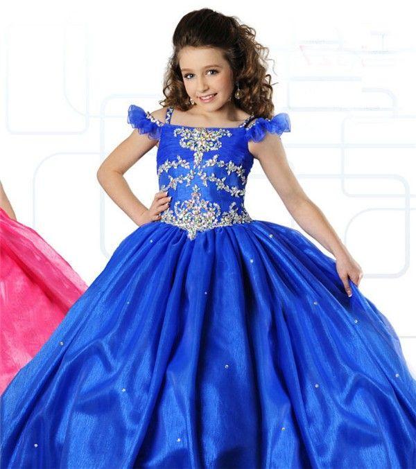 Ball Gown Halter Long Turquoise Tulle Beaded Little Flower Girl ...