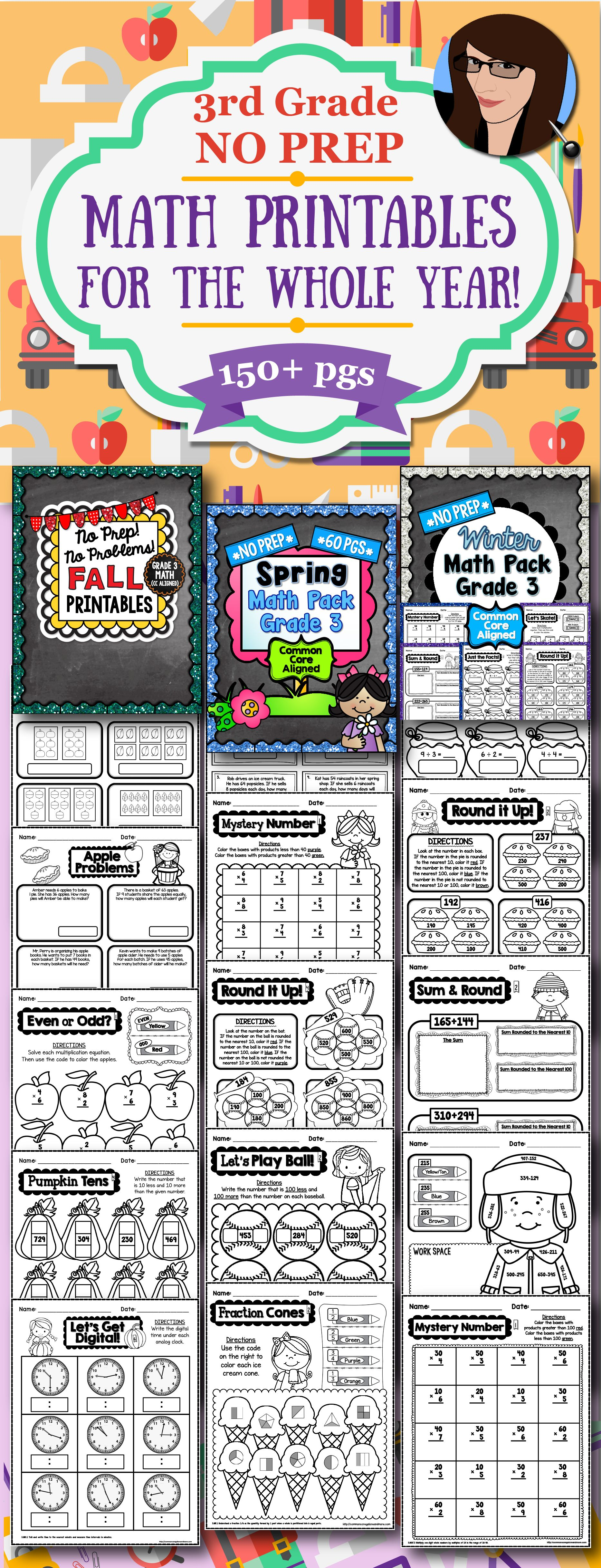Seasonal No Prep Math Printables For The Whole School Year