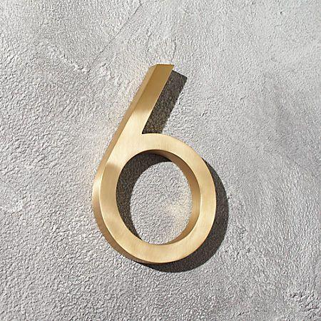 Aurele 6 Brushed Brass House Number 6 Reviews House Numbers Brushed Brass Brass