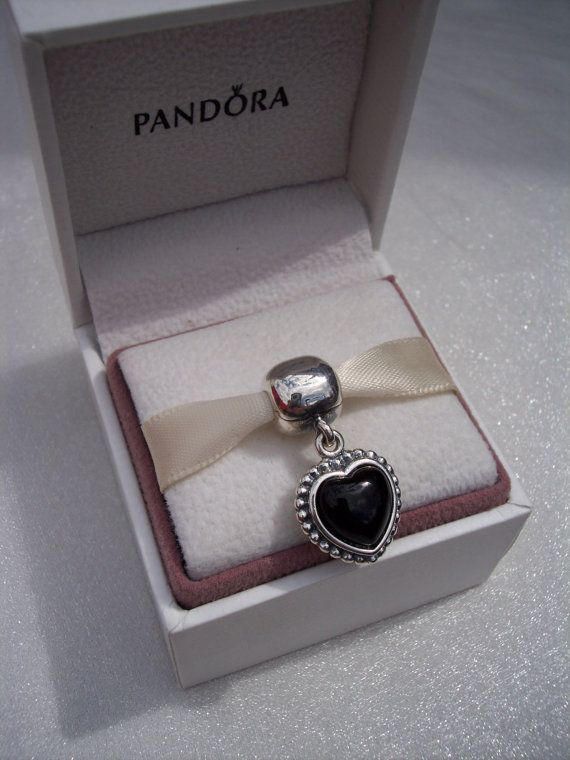 e648551c8d9b8 Pandora, Mi Amor Clip, Bracelet Charm, Retired, Black Onyx, Dangle ...