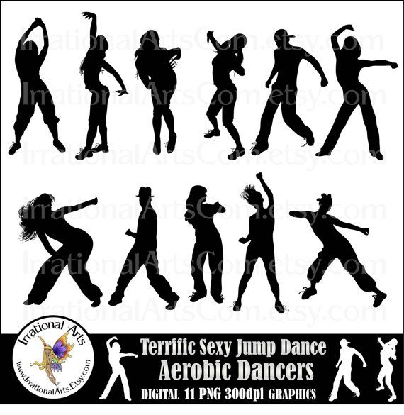 Zumba Tattoo Ideas: Terrific Sexy Jump Dance Aerobic Dancers Silhouettes