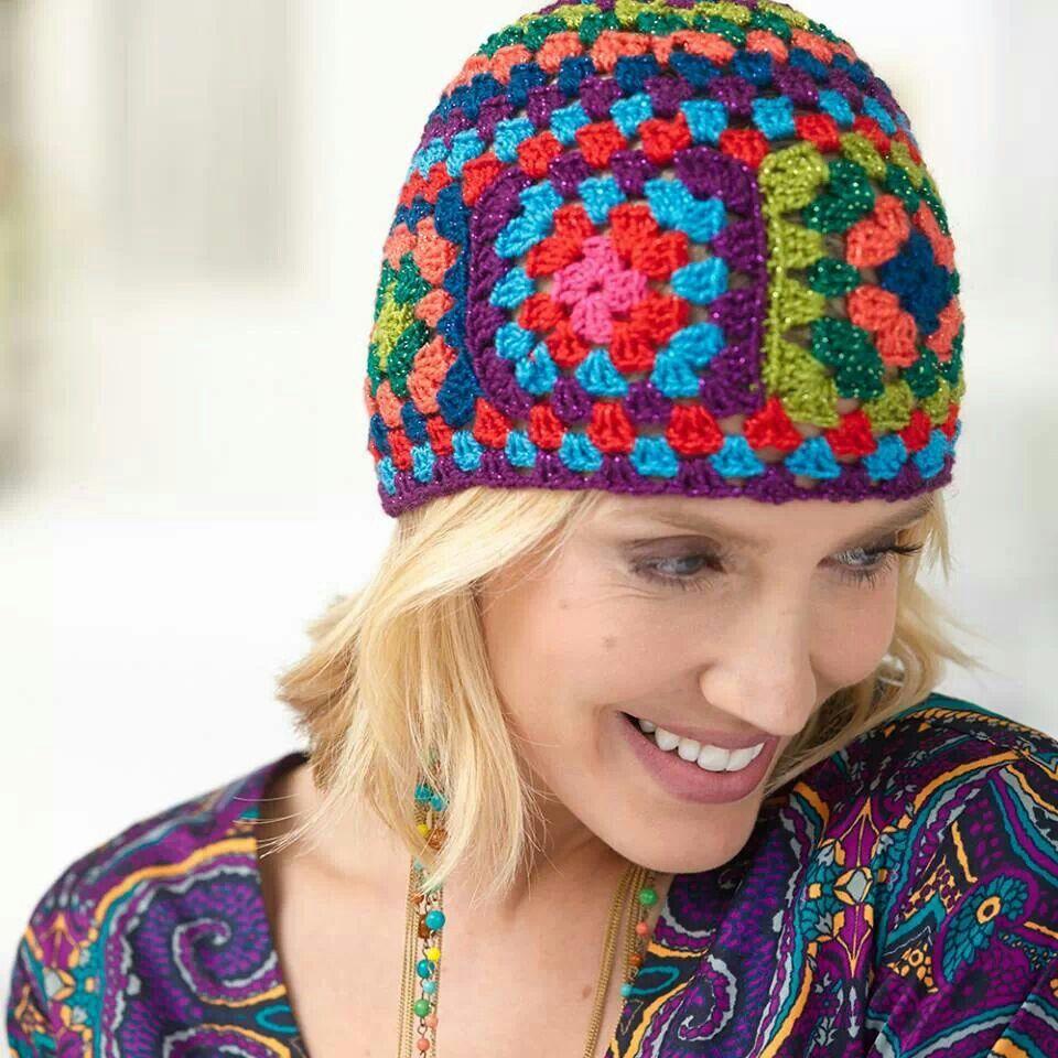Granny square hat … | Pinteres…