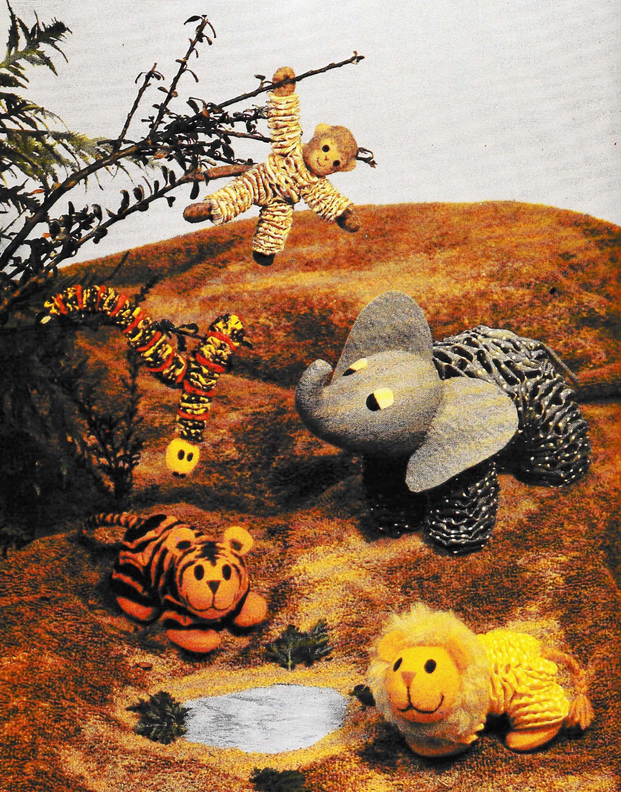 Vintage Jungle Animals Softie Patterns, Fabric Yo Yo