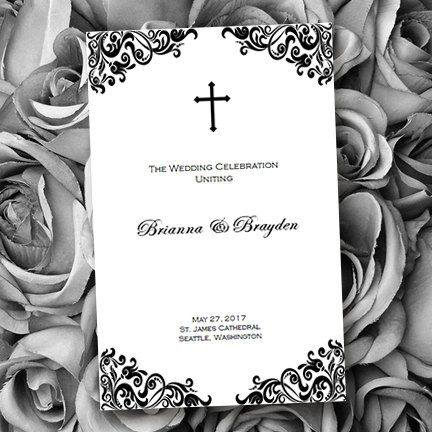 Catholic Wedding Program Faith Black White