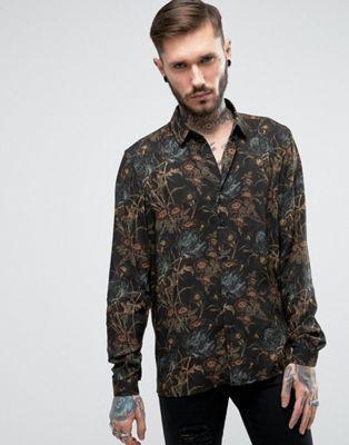 bad61fd16ab ASOS Regular Fit Viscose Shirt In Dark Floral Print