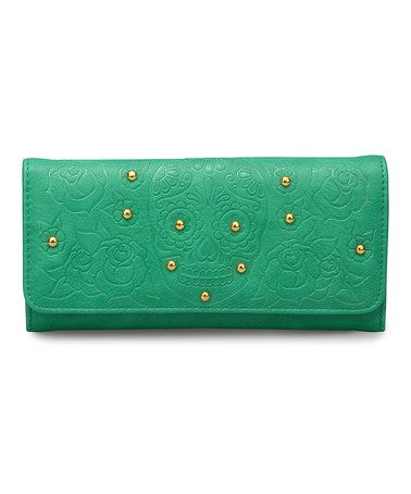 Look what I found on #zulily! Teal Embossed Sugar Skull Wallet by Loungefly #zulilyfinds