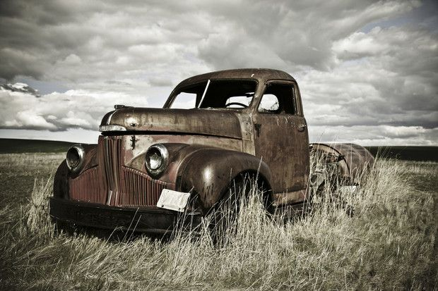 Old Truck Out In The Field Wall Mural Photo Wallpaper
