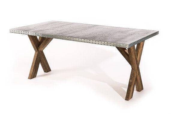 Zinc Table Zinc Dining Table Base Trestle Zinc Metal Top Dining Table Custom Sizes Available Zinc Dining Tables Zinc Table Dining Table Bases