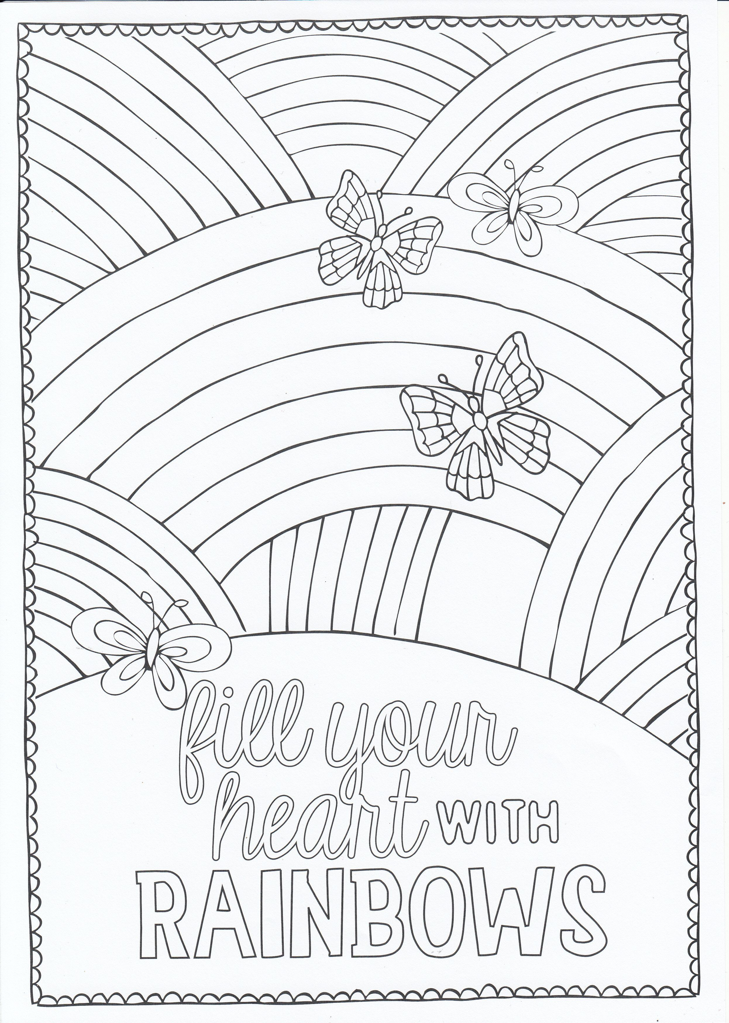 Rainbows Love Coloring Pages Fairy Coloring Pages Quote Coloring Pages