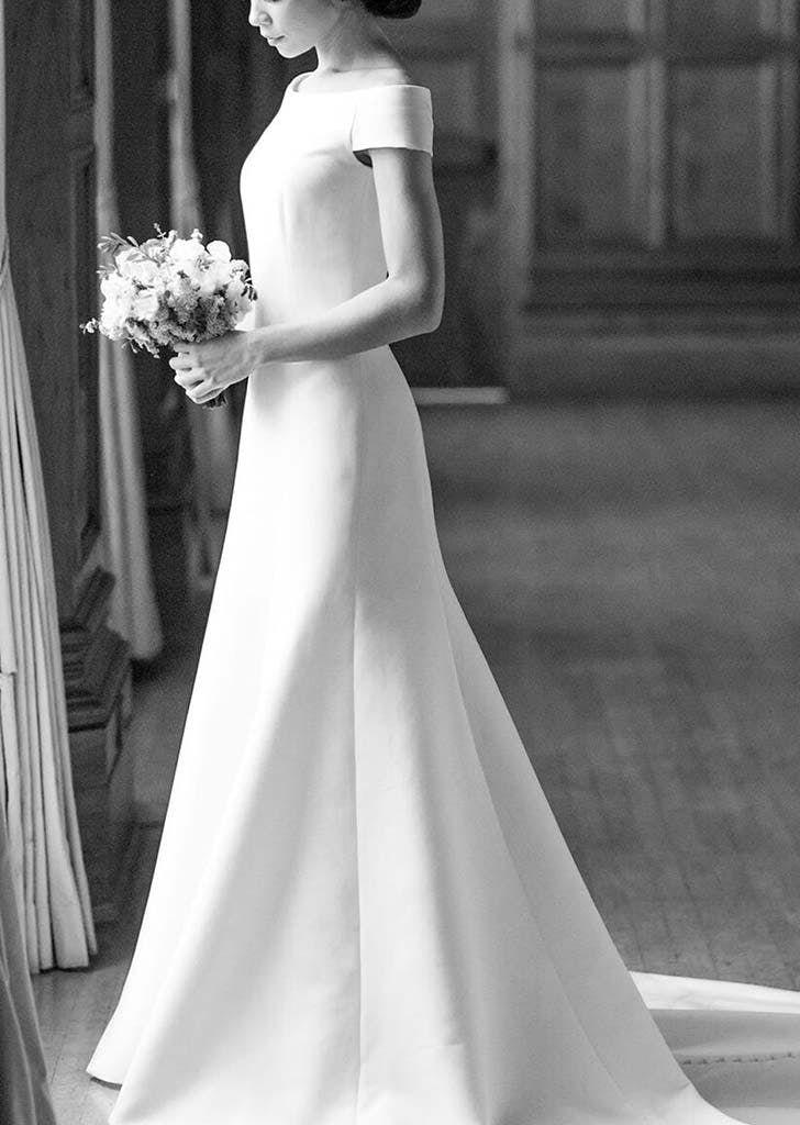 boat neck wedding dress long sleeve