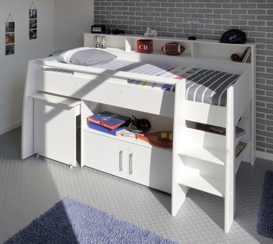 Multifunktionsbett Hochbett Finn Hochbett Mit Schreibtisch Halbhohes Kinderbett Bett Mit Schreibtisch